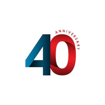 40 años aniversario vector plantilla diseño ilustración