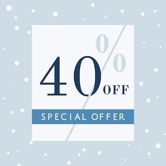 40% de descuento en oferta especial vector de placa