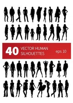 40 siluetas de personas en diferentes poses aislados en blanco