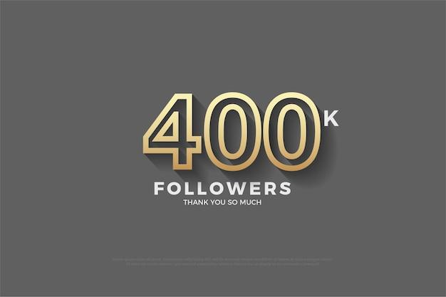 400.000 seguidores con números en 3d que aparecen en el fondo