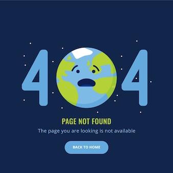 404 página de error no encontrada ilustración con tierra triste
