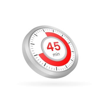 Los 45 minutos, icono de vector de cronómetro