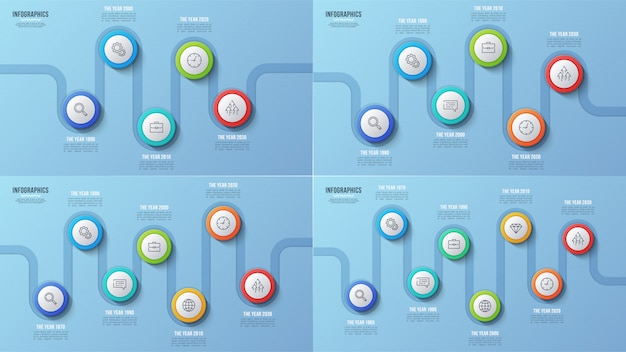 5 6 7 8 pasos gráficos de línea de tiempo, diseños infográficos, prese