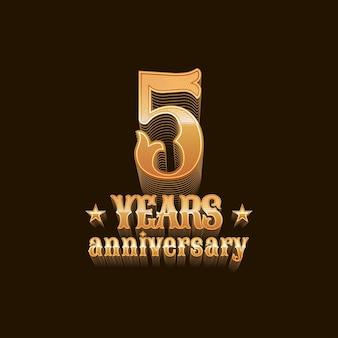 5 años de aniversario. diseño de quinto cumpleaños, firmar en oro