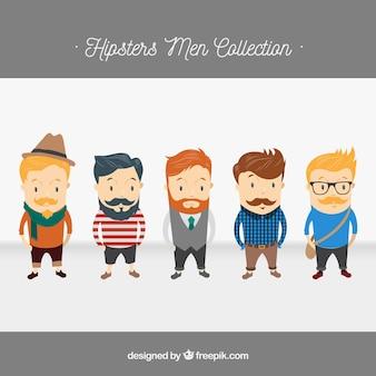 5 caracteres hipster, paquete de vectores