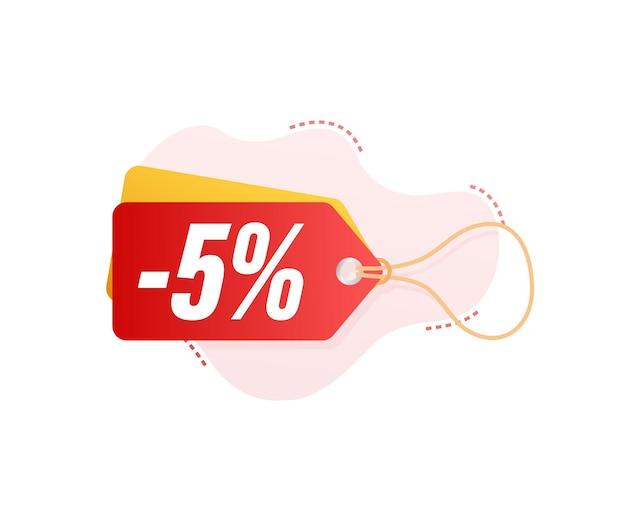 5 por ciento de descuento en venta etiqueta de descuento. precio de oferta de descuento. icono plano de promoción de descuento del 10 por ciento con sombra. ilustración vectorial.