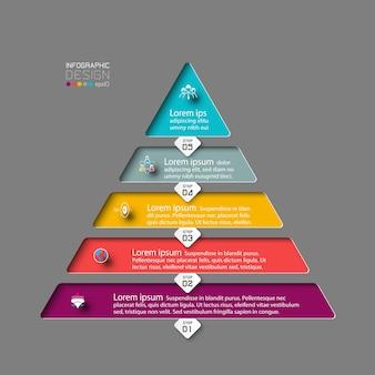 5 escalones de la pirámide. diseño infográfico moderno