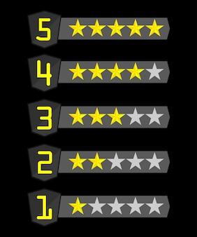 5 filas con estrellas de diferentes números de amarillo sobre negro.