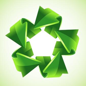 5 flechas verdes de reciclaje, ilustración