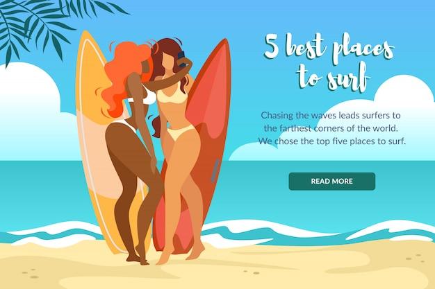 5 mejores lugares para surfear banner horizontal con chicas sexy en bikini posando