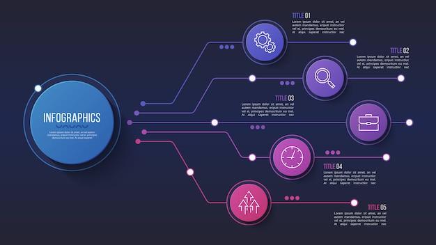 5 opciones de diseño infográfico, diagrama de estructura, presentacion