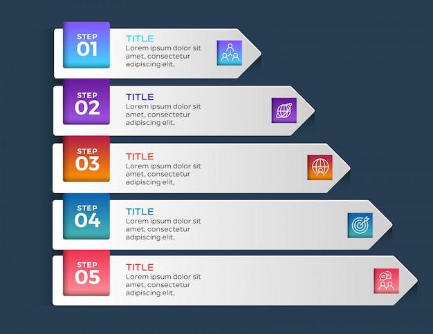 5 opciones pasos infográficos