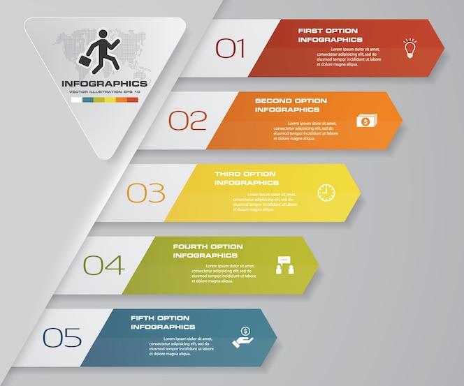 5 pasos de la plantilla arrow infografics