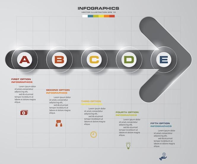 5 pasos de la plantilla de infografics de flecha.