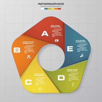 5 pasos de presentación plantilla de infografía