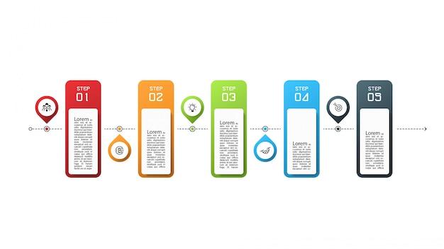 5 pasos. diseño infográfico.