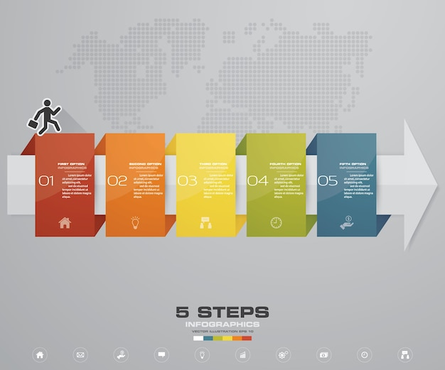 5 pasos de la plantilla de infografics de flecha para la presentación.