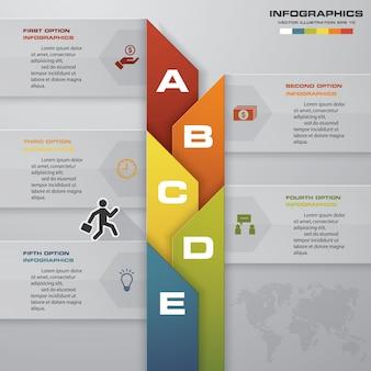 5 pasos de la plantilla infografics para tu presentación.