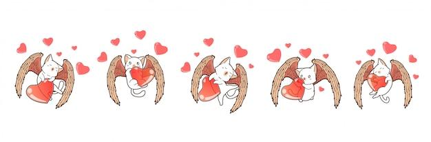 5 personajes adorables diferentes de gato cupido con gran corazón