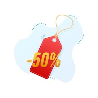 50 por ciento de descuento en venta etiqueta de descuento. precio de oferta de descuento. icono plano de promoción de descuento del 10 por ciento con sombra. ilustración vectorial.