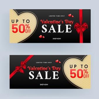 Hasta 50% de descuento para el encabezado de venta de san valentín o el diseño de pancarta con cinta roja.