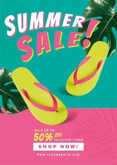 50% de descuento en publicidad de promoción de venta de verano.
