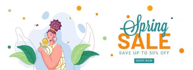 Hasta 50% de descuento en la venta de primavera, encabezado publicitario o diseño de pancarta con una niña sosteniendo una flor.