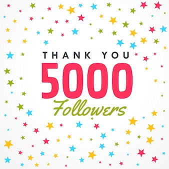 5000 seguidores plantilla de éxito con estrellas coloridas