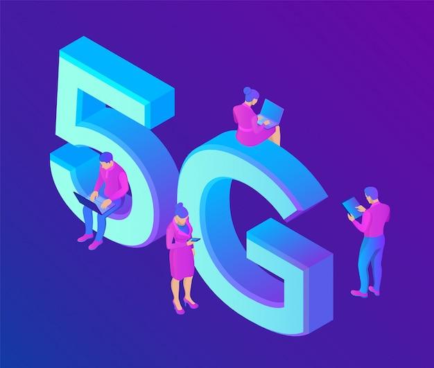 5g network internet concepto de tecnología móvil con personajes. sistemas inalámbricos 5g e internet de las cosas.
