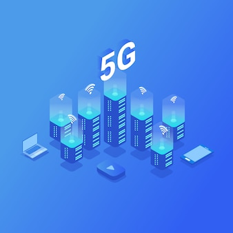 5g nueva conexión inalámbrica a internet wifi.