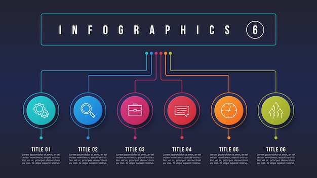 6 opciones de diseño infográfico, diagrama de estructura, presentacion