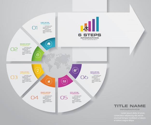 6 pasos de infografía elemento flecha plantilla gráfico.