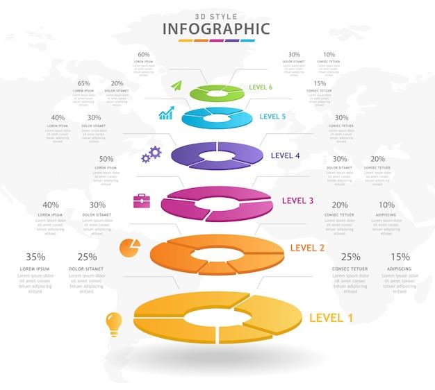 6 pasos moderno gráfico circular de mindmap infográfico.
