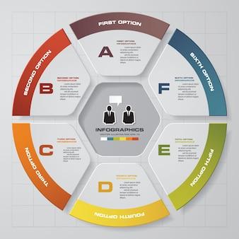 6 pasos modernos elementos de gráfico circular infografía.