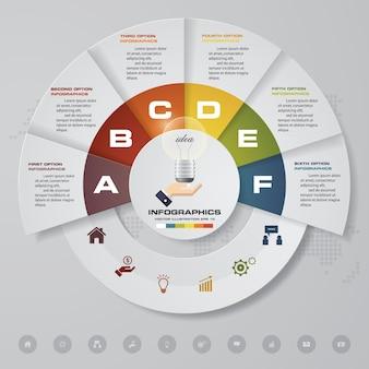 6 pasos modernos elementos de gráfico de infografía.