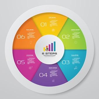 6 pasos modernos elementos de infografía gráfico de círculo.