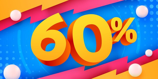 60 por ciento de descuento en la composición creativa d símbolo de mega venta con pancarta y póster de venta de objetos decorativos
