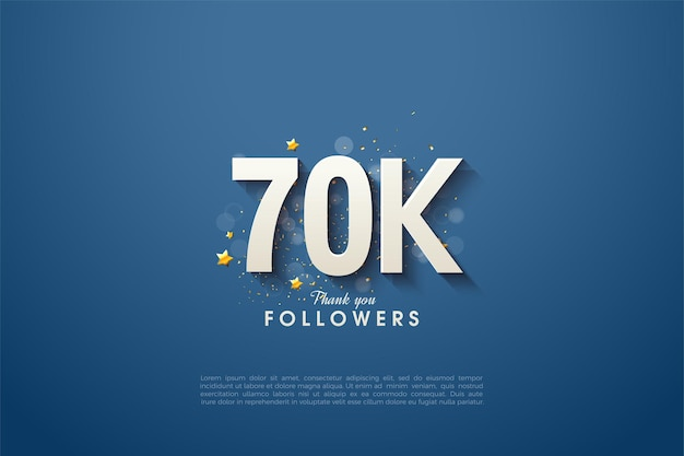 60k seguidores con números 3d sombreados sobre un fondo azul marino.