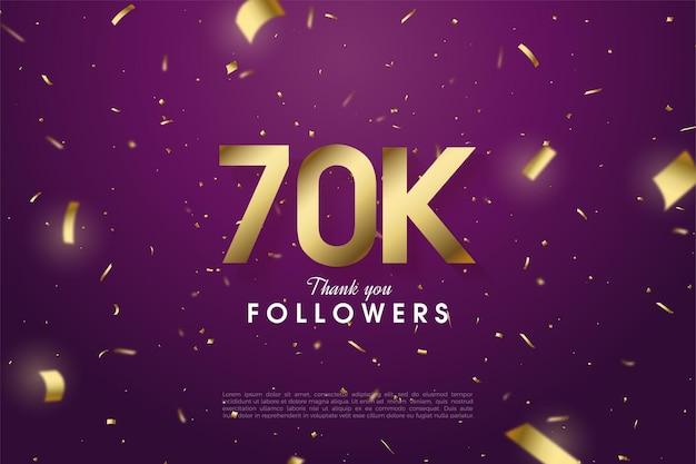 60k seguidores con números e ilustraciones en lámina dorada esparcidas por todo el fondo morado oscuro.