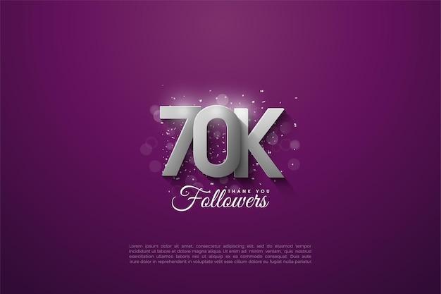 60k seguidores con números plateados tridimensionales que se superponen sobre un fondo morado.