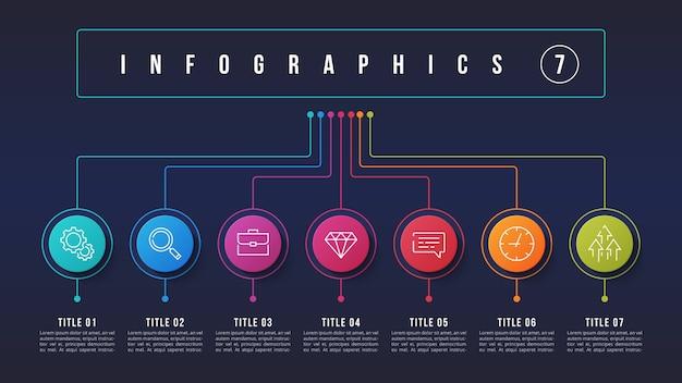 7 opciones de diseño infográfico, diagrama de estructura, presentacion