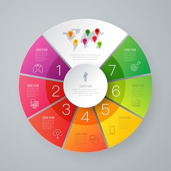 7 pasos elementos de infografía empresarial para la presentación