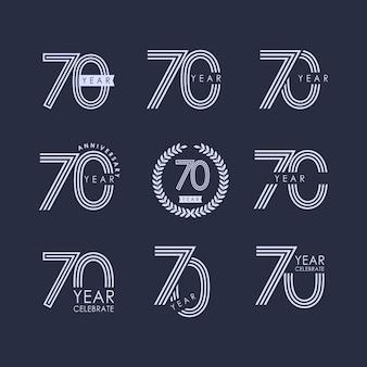 70 años de aniversario set vector plantilla diseño ilustración