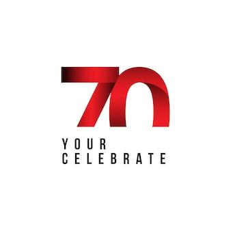 70 años aniversario vector plantilla diseño ilustración