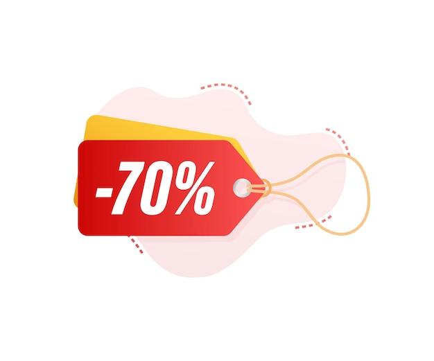 70 por ciento de descuento en venta etiqueta de descuento. precio de oferta de descuento. icono plano de promoción de descuento del 10 por ciento con sombra. ilustración vectorial.