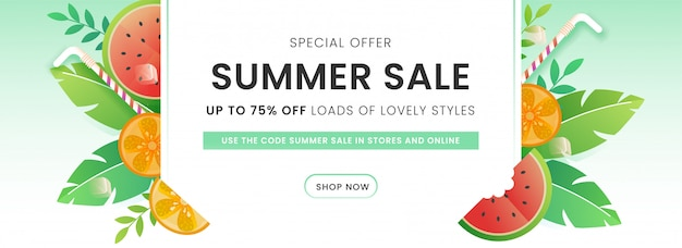 Hasta 75% de descuento para el diseño de encabezado o pancarta de venta de verano decorado con sandía, limón, paja y hojas verdes.