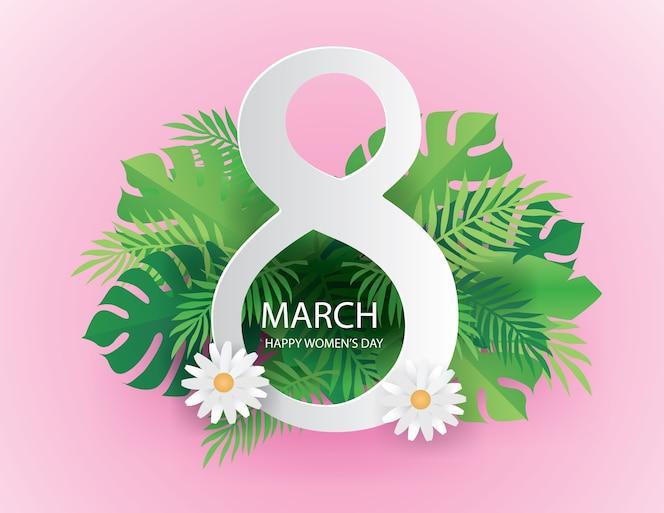 8 de marzo el día internacional de la mujer en la naturaleza de fondo verde y rosa.