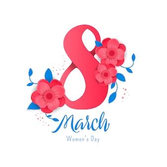 8 ilustración del número 3d con las flores en el fondo blanco.