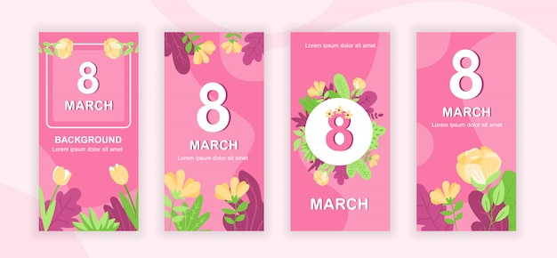 8 de marzo conjunto de plantillas de historias de redes sociales