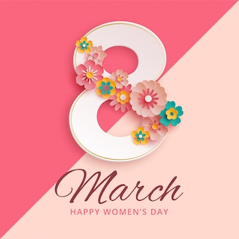 8 de marzo día internacional de la mujer con flores de papel.